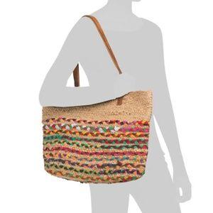 MAGID Woven Straw Braid Tote Shopper Shoulder Bag